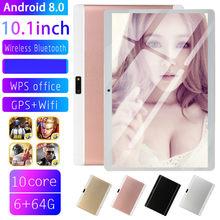 2021 freies Verschiffen 10 inch 4G Telefon tablet PC Android 8,0 10 Core RAM 6GB ROM 64GB 1280x800 IPS tabletten pc MT6753