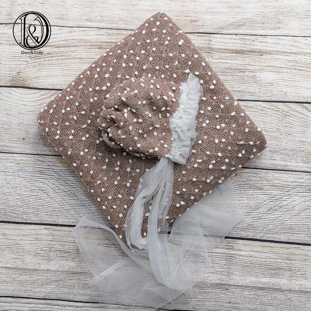Don&Judy Newborn 2pcs/set 150*100cm and 150*150cm Fabrics Backdrop + Newborn Bonnet Photography Prop Accessories for Photo Shoot
