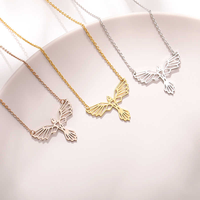 Stainless Steel Origami Rabbit Phoenix Necklace For Women Choker Animal Pendant Minimalist Jewelry Party Accessories Kolye