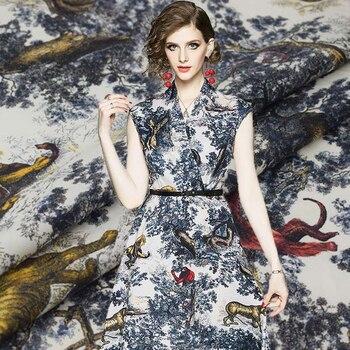 Pintura digital de animales del bosque mono rojo tela de algodón puro para vestido de chica