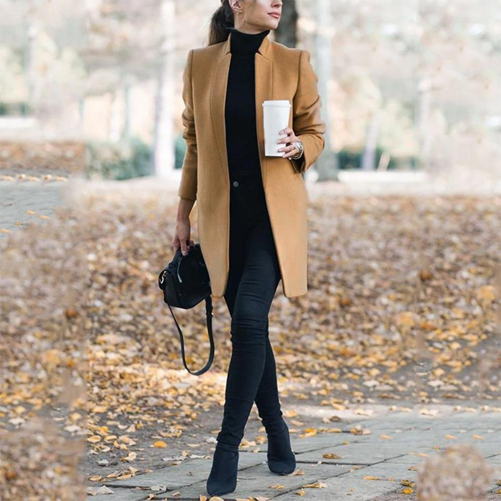 Winter Khaki Coat For Women Wide Lapel Pocket Woollen Cloth & Polyester Wool Blend Coat Oversize Long Trench Coats Outwear 5XL
