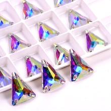 Isosceles Tri-angle AAAAA Quality Glass Sew On Rhinestones Colorful стразы Sewing Rhinestone Wedding Dress B3896