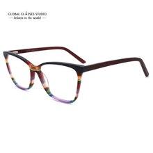 Brillen Frames Nieuwe Fashion Italië Designer Bril Vrouwen Mannen Grijs Rood Bruin Kleurrijke Acetaat Optische Brillen Gratis Verzending G86