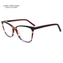 Eyeglasses Frames New Fashion Italy Designer Glasses Women Men Gray Red Brown Colorful Acetate Optical Eyewear Free Shipping G86