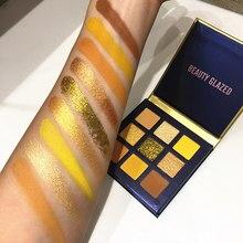 4 вида цветов, желтый цвет, глазурованный макияж, тени для век, палитра для макияжа, кисти, мерцающие пигментные тени для век, палитра для макияжа