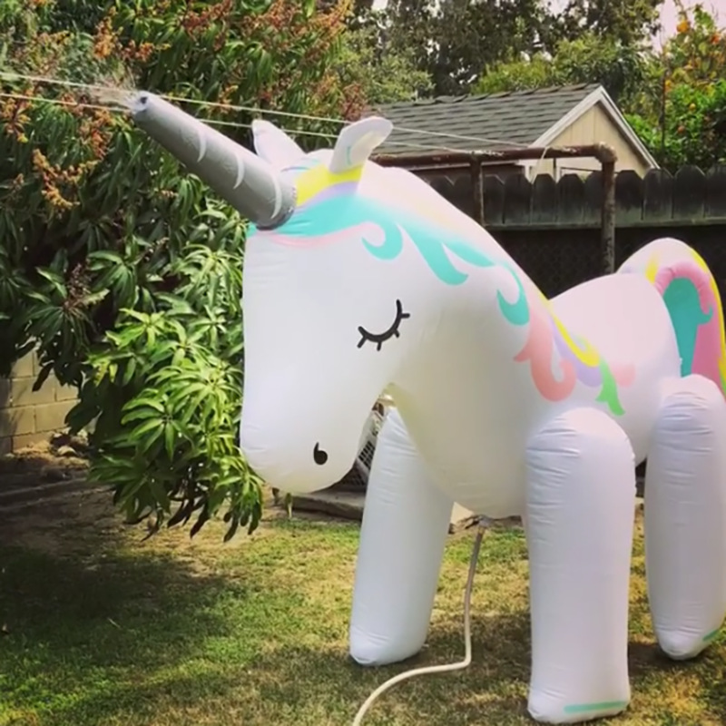 Image 2 - outdoor giant inflatable unicorn sprinkler swimming pool toys for yard lawn wedding photography props for kids adult-in Pool Rafts & Inflatable Ride-ons from Toys & Hobbies