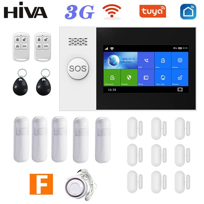 PG-107 3G GSM Wi-Fi система домашней сигнализации Tuya Smart Life APP Беспроводной 433 МГц охранной сигнализации Комплект Поддержка Alexa и Google Assistant