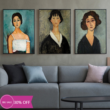 Amedeo Modigliani Art Posters and Photos Female Art Picture Portrait Home Decor Canvas Painting image