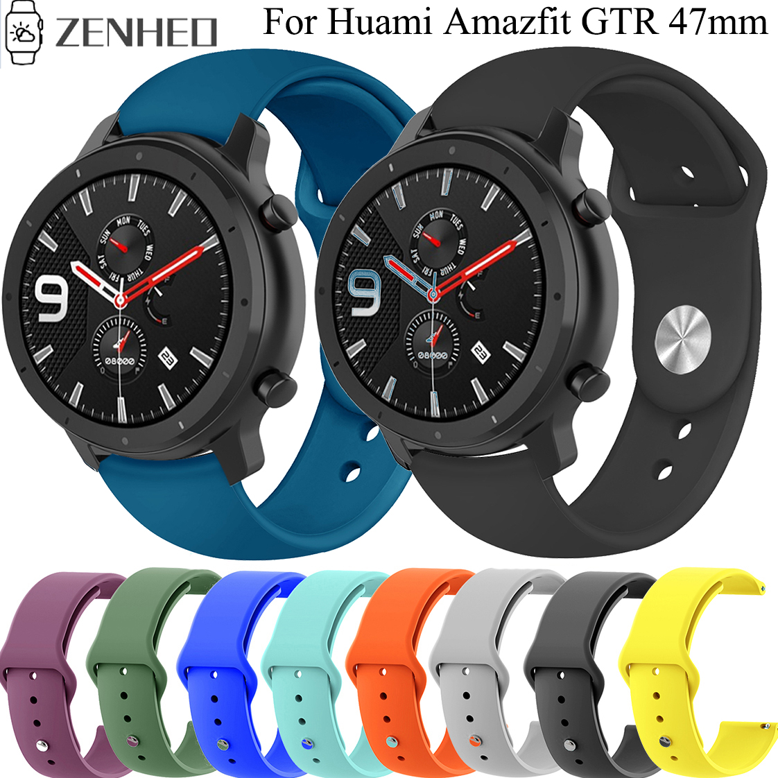22mm Silicone Band Strap For Huami Amazfit GTR 47mm/Pace/Stratos 2/2S Bracelet Strap For Samsung Galaxy Watch 46mm/Gear S3