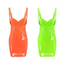 Fluorescence Ladies Bodycon dress Sexy Party Dresses Polyester Soild Color Mini Sleeveless low neckline Womens S-XL D30