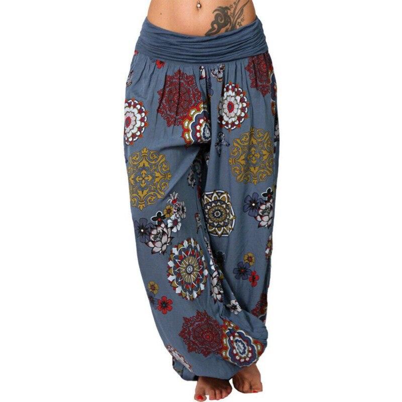 Plus Size Female Pants Casual Loose Harem Pants Linen Digital Printing Long Wide Leg Pant Women Trousers