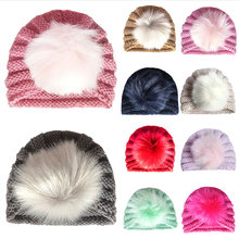 Вязаные зимние шапки и шляпки для младенцев девочек Карамельный