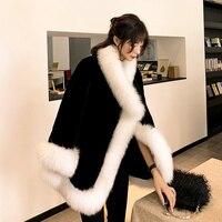 Patchwork Shawl Thermal Cloak 2019 Ladies Tops Female Thick Warm Faux Mink Fur Coat Winter Black Furry Jacket Women Ee33