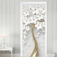 Self-Adhesive Door Sticker 3D Stereo White Flowers Mural Wallpaper Living Room Bedroom Home Decor Door Poster Waterproof Sticker