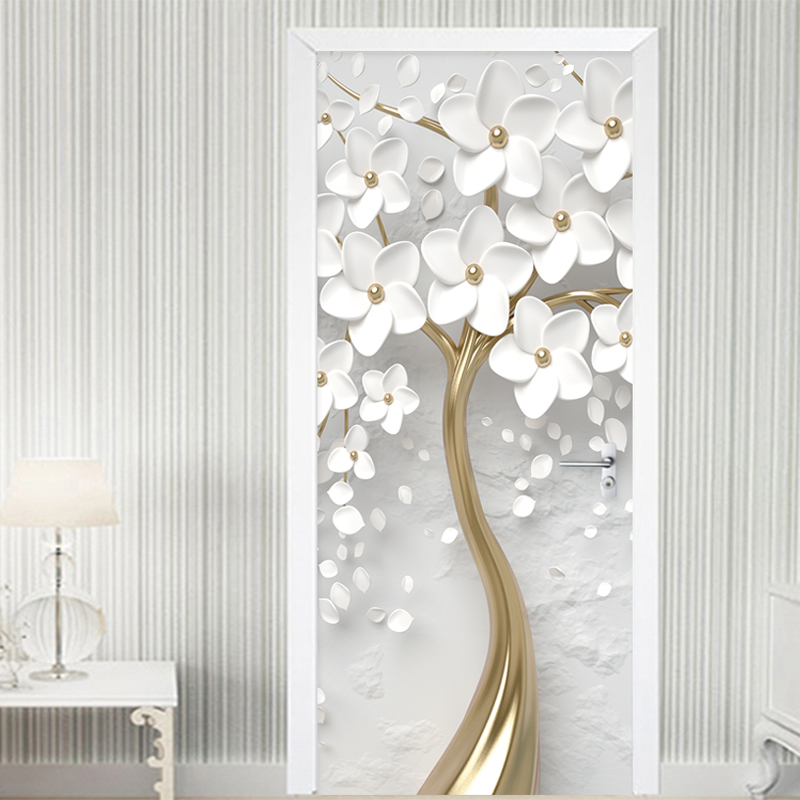 Self-Adhesive Door Sticker 3D Stereo White Flowers Mural Wallpaper Living Room Bedroom Home Decor Door Poster Waterproof Sticker