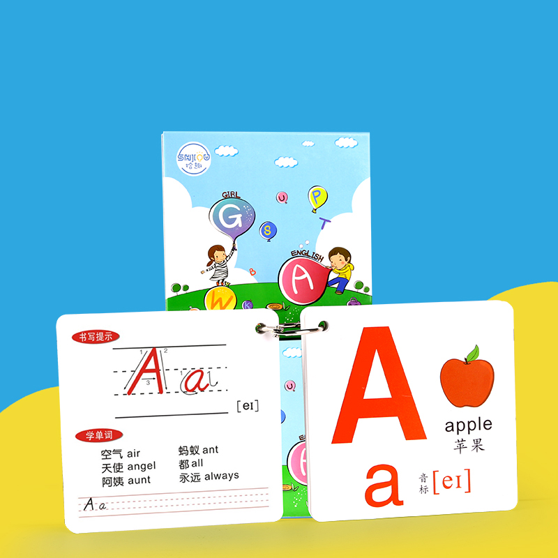 26 letter cards English Picture Book Learning Early education Pocket Toys Reused Beginners Children Teaching Practice Card Books