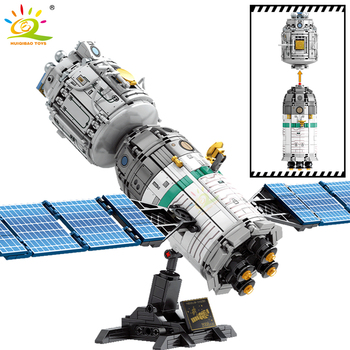 HUIQIBAO 804PCS Space Tank Manned Spacecraft Building Blocks City Aerospace Astronaut Figures Satellite Bricks Toys For Children