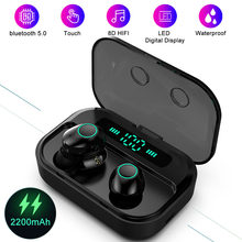 TWS bluetooth 5.0 Earphones LED Display True Wireless 8D Stereo 2200mAh Waterproof Sport Earbuds Headset With Mic For Phone(China)