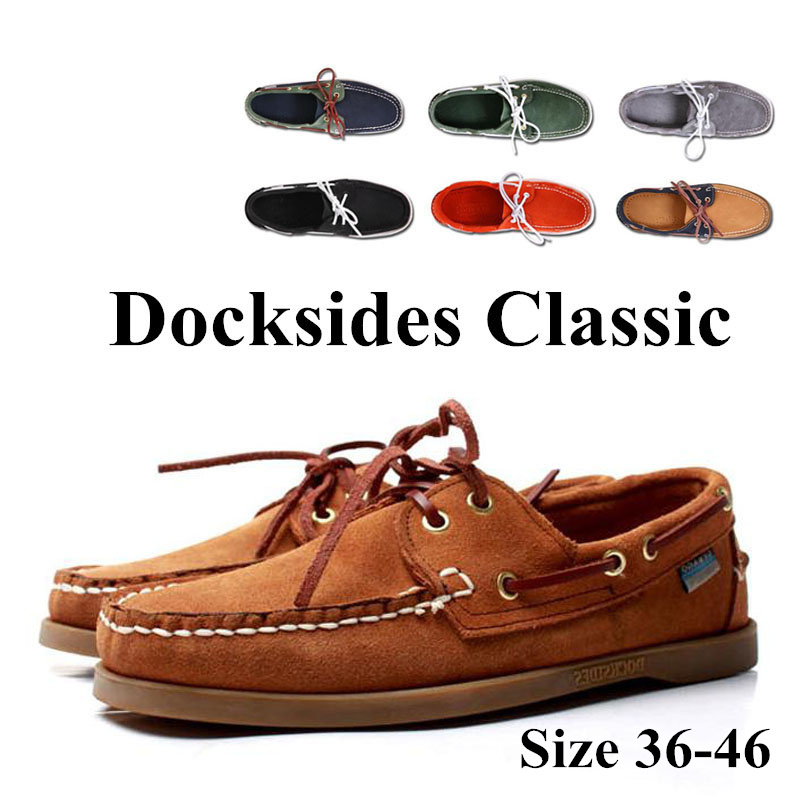 Men Women Genuine Leather Docksides Classic Homme Femme Boat Shoes,Plus Big Size Navy Black Brown Brand Flats Loafers 2019A045