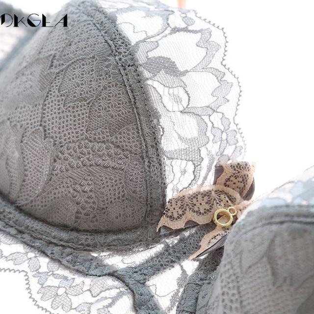 Fashion Black Sexy Bra Plus Size C D Cup Thin Cotton Underwear Women Lace Comfortable Brassiere Gray Bras Embroidery Lingerie 5
