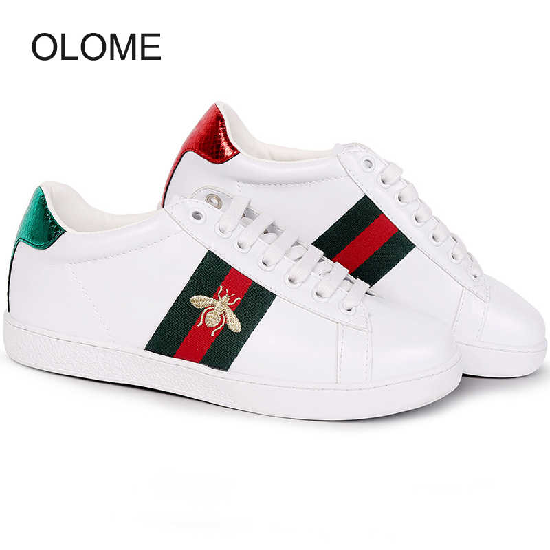 Spring White Shoes Women Fashion Brand embroidery Footware Real leather Leisure Sneakers Breathable Female Casual Chaussures