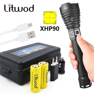 Image 1 - Litwod супер мощный Xlamp XHP70.2 XHP90 светодиодный вспышка светильник Мощный светодиодный тактический вспышки светильник кемпинг фонарь 26650 18650 батарея