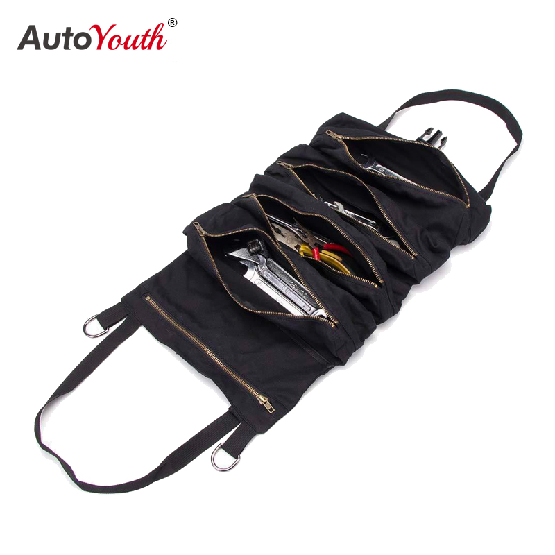 Multifunctional Car Storage Bag Canvas Hanging Car Storage Bag Car Toolbox Portable Storage Bag General Car Interior