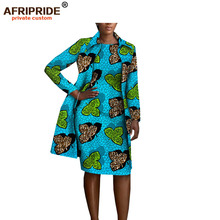 2019 african clothing 2 pieces set for women AFRIPRIDE full sleeve knee-length jacket+sleeveless knee length dress A1826029