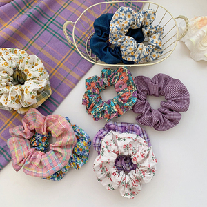 Floral Plaid Print Scrunchie Hair Accessories For Women Ponytail Holder Elastic Rubber Band Girl Fabric Hair Ties Band Hair Rope