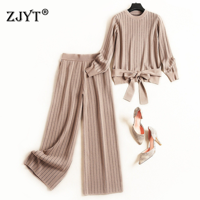 Knitting Sweater Pants 2 Piece Set Women 2019 New Fashion Autumn Winter Suits Casual Outfits Bandage Knitted Top And Pants Sets