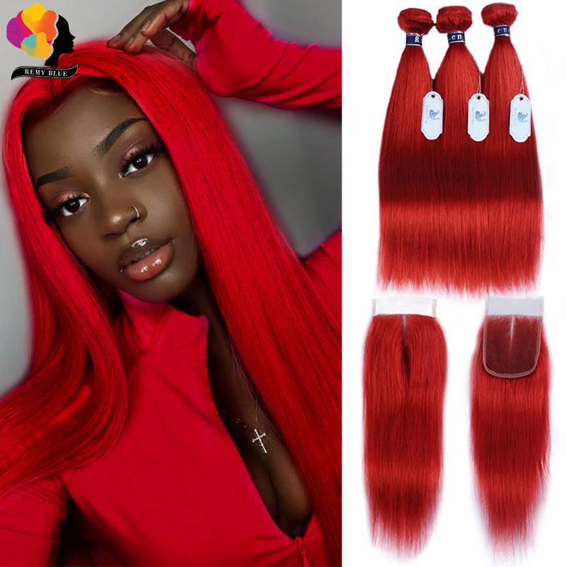 Red Bundles With Closure Colored 99J Burgundy Brazilian Hair Straight Human Hair 3 Bundles With Closure Remyblue Remy Hair Weave