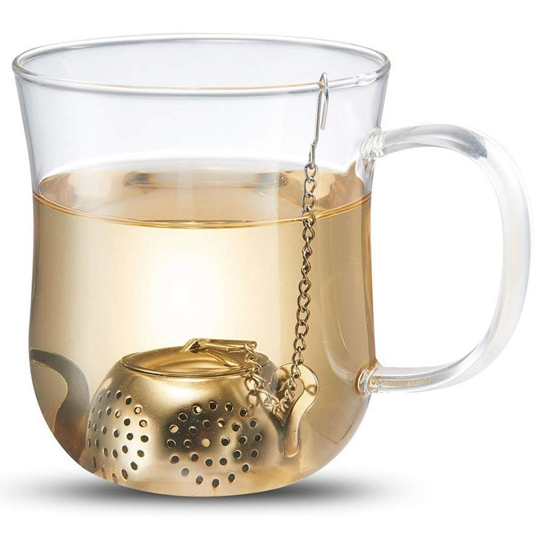 8 Pack Teapot Tea Infuser Stainless Steel Loose Leaf Tea Strainer Filter With Chains And Drip Trays Strainer Filter Infuser For