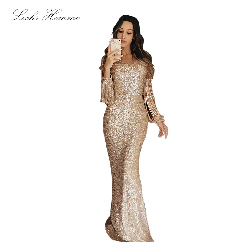 2019 New Women'S Evening Dress Solid Color Long Skirt Evening Dress Long-Sleeved Tassel Stitching Round Neck Dinner Dress