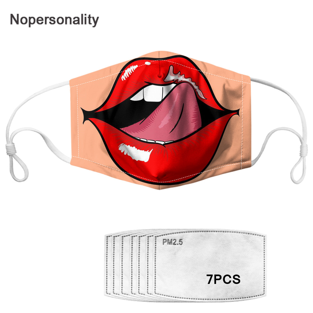 Nopersonality PM2.5 Dust-proof Mouth Mask Red Lips Printed Reusable Face Mask With Activated Carbon Filters Unisex Mouth-muffle