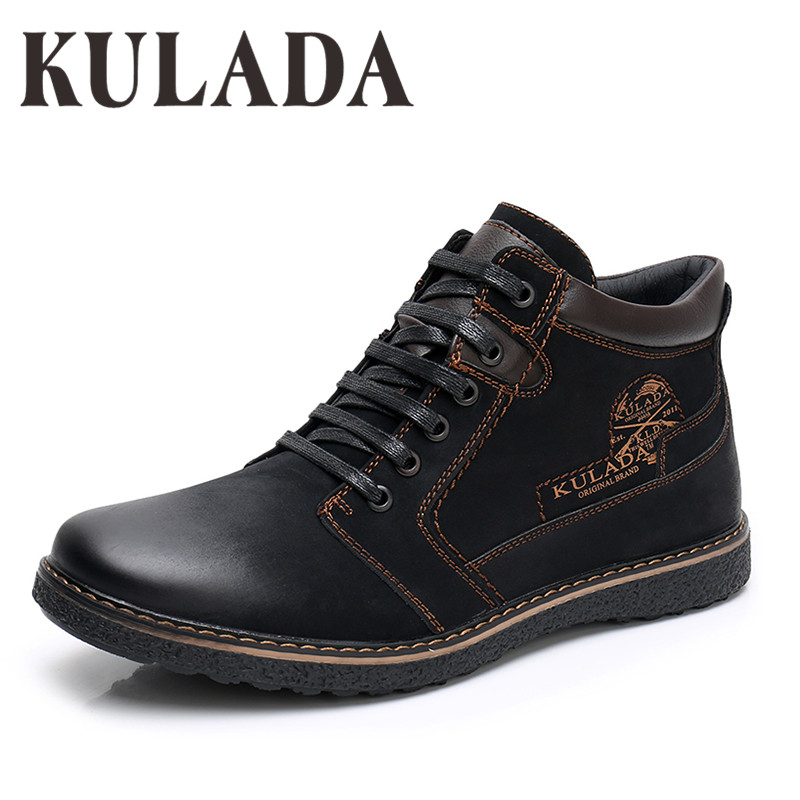 KULADA 2019 Shoes Men's PU Leather Boots Spring&Autumn Men Boots Comfortable Nature Working Men Lace-up Casual Ankle Boots