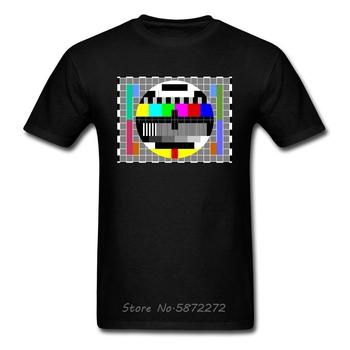 Telewizja satelitarna TV Test wzór mężczyźni O-Neck T Shirt nie dziś Internet Rainbow ojciec Tshirt bawełniane koszulki prima aprilis tanie i dobre opinie SHORT Z okrągłym kołnierzykiem Short Sleeve Oxford COTTON Nowość Polka dot