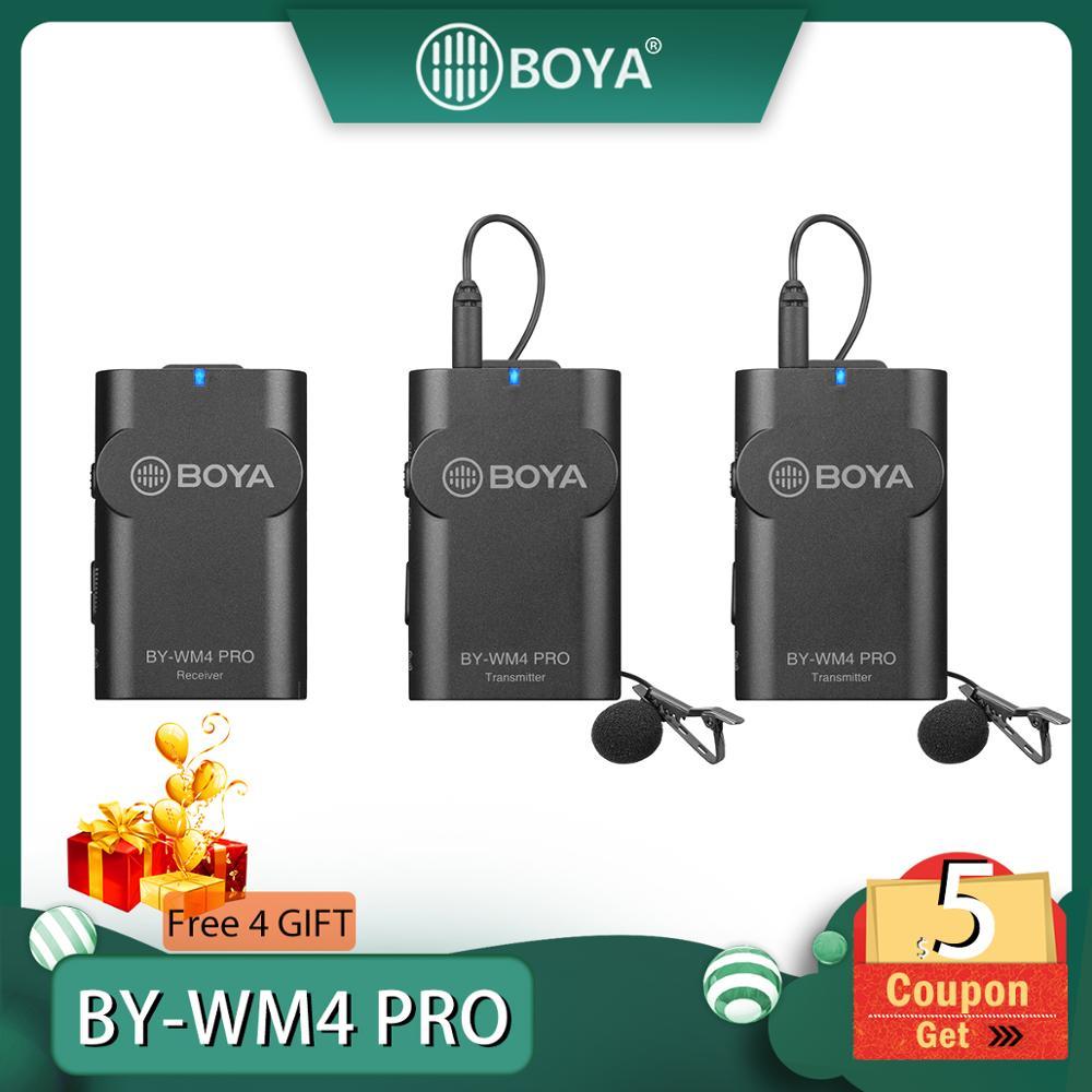 Boya BY-WM4 pro/BY-WM4 mark ii microfone condensador de estúdio sem fio lapela lapela entrevista microfone para iphone canon nikon câmeras