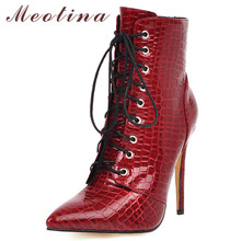 Купить с кэшбэком Meotina Winter Ankle Boots Women Zipper Thin Heels Short Boots Patent Leather Super High Heel Shoes Female Autumn Red Size 34-46