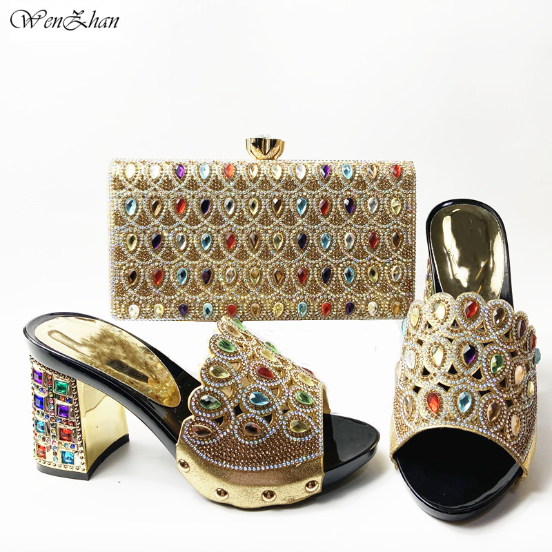 Latest Italian Med Heel Shoes 7cm And Bag For Evening Party With Rhinstones Gold Italian Handbags Match Bags set 37-42 201-7