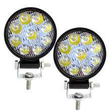 Safego 2pcs 27W Round Square LED Work Light Spot Beam Lamp Mini Work Bar For Offroad ATV UAZ SUV 4x4 Truck Tractor Boat 12V 24V car led light bar work lamp 6 x 3w auto headlight spot beam light for offroad tractor suv truck boating hunting car styling
