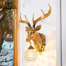 in tiffany style led wall lamp lights for home indoor lighting angel fish design wall sconce lampara de pared e26 e27 Modern Retro Resin Wall Lamp Antlers Bedside Lamp Deer Head Home Decor Wall Sconce Light Fixtures Wall Lights Indoor Lighting