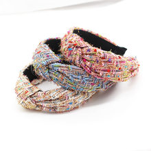 New Korean version of colorful fabric geometric wild personality casual hair hoop ladies travel ball leisure hair accessories761(China)