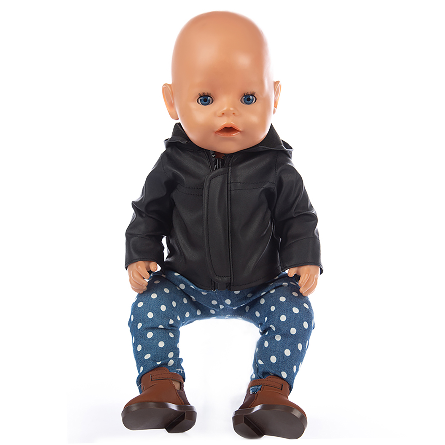 Doll Clothes Accessories Born New Baby Fit 18 Inch 43cm Doll Black Purple Blue Red Leather Suit Clothes For Baby Birthday Gift
