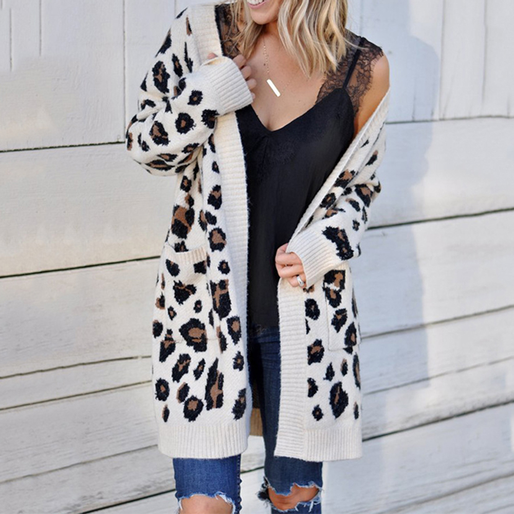 Plus Size Women Leopard Print Cardigans Casual Long Sleeve Knitted Sweater Coats Autumn Winter Fashion Cardigan Jacket Outwear