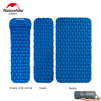 Naturehike Single/Double Air Mat Camping Tent Sleeping Pad Ultra-light Inflatable Mat Hiking Moisture-proof Cushion with Air Bag high quality multiplayerpvc aluminum film moisture pad 2 2m side tent moisture pad picnic mat sleeping pad