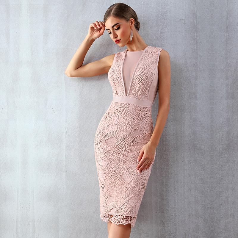 Latest Girls Design Sleeveless Knee Length Sheath Pink Bridesmaid Dresses Party Wear