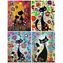 Painting By Number Cartoon Cats Pictures By Number Kits For Children Acrylic Paint Photo Frames Decoration Home 40x50cm Diy Kit image