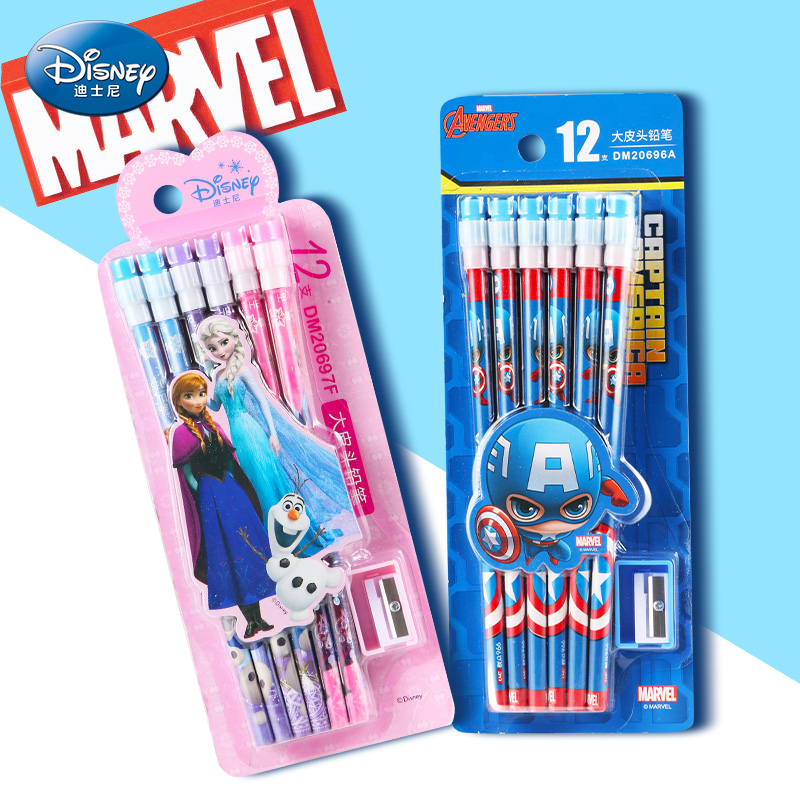 Frozen Stationery <font><b>HB</b></font> <font><b>pencil</b></font> with <font><b>pencil</b></font> sharpener Disney Captain America writing painting tools school supplies boys girls gifts image