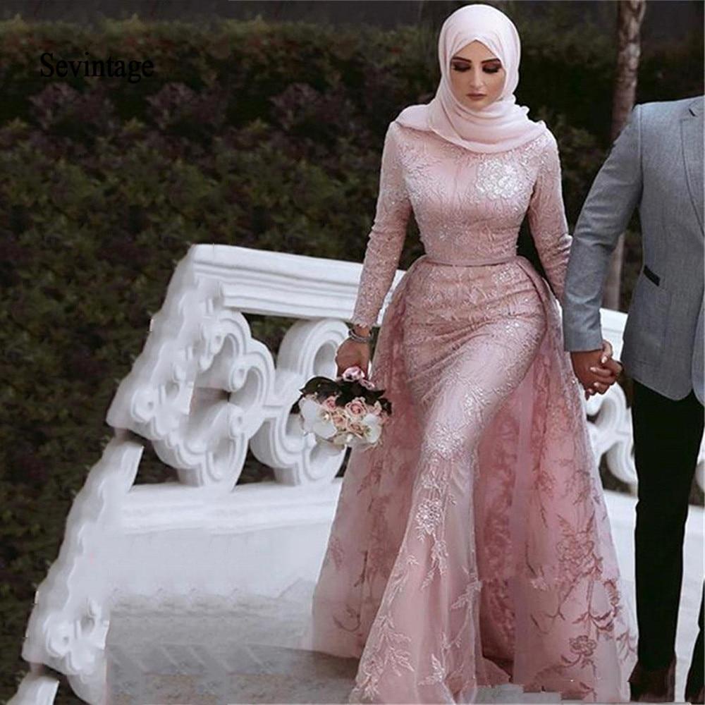 Sevintage Mermaid Lace Evening Dresses Arabic Dubai Long Sleeves Prom Gown Muslim Sequins Formal Party Dress Detachable Train