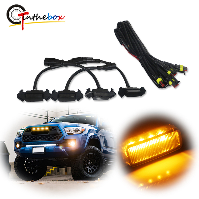 4pcs Smoked Lens Amber LED Front Grille Light assemblies with Wiring Harness Kit For 16 up Toyota Tacoma w/TRD Pro Grill 12V